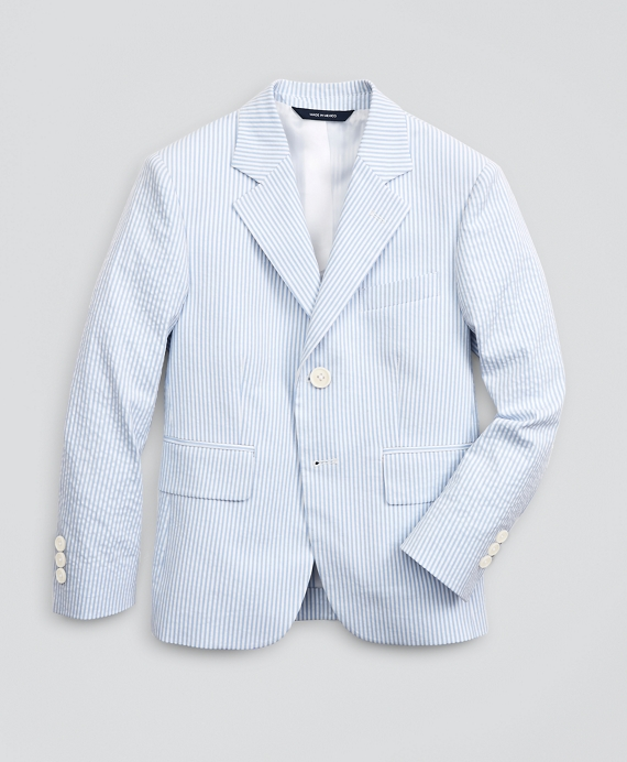 Boys Seersucker Two-Button Suit Jacket Blue