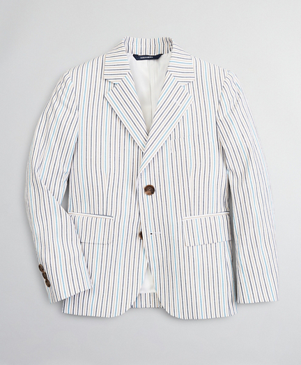 Boys Seersucker Two-Button Multi-Stripe Suit Jacket