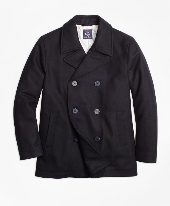 Boys Melton Pea Coat Navy