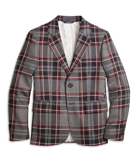 Boys Two-Button Plaid Wool Suit Jacket Charcoal