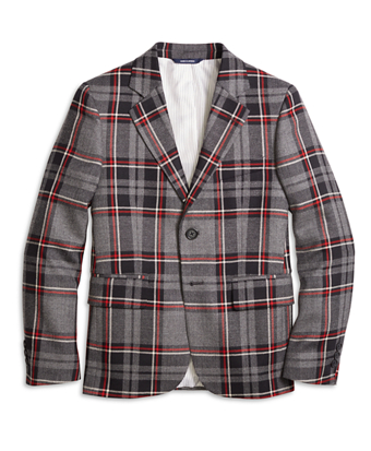 Boys Two-Button Plaid Wool Suit Jacket
