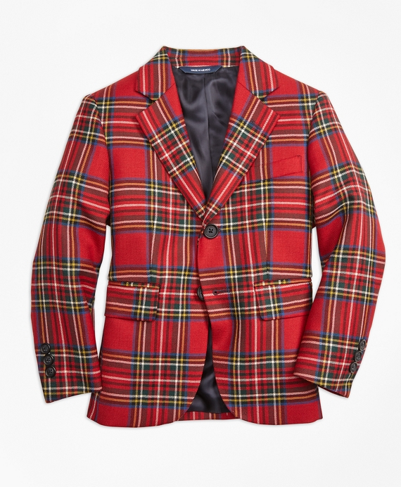 Boys Two-Button Tartan Jacket Red-Multi