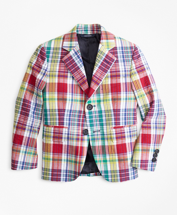 Boys Two-Button Madras Seersucker Sport Coat Multi