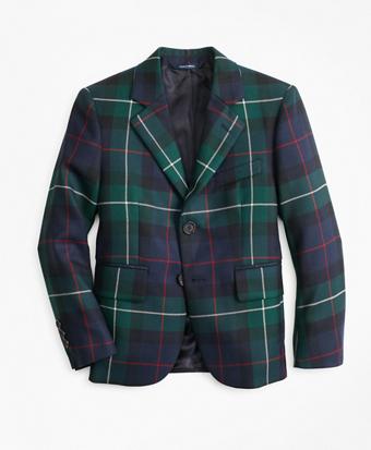 Boys Wool Two-Button Black Watch Plaid Sport Coat