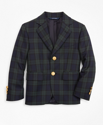 Boys Wool-Blend Two-Button Black Watch Plaid Sport Coat