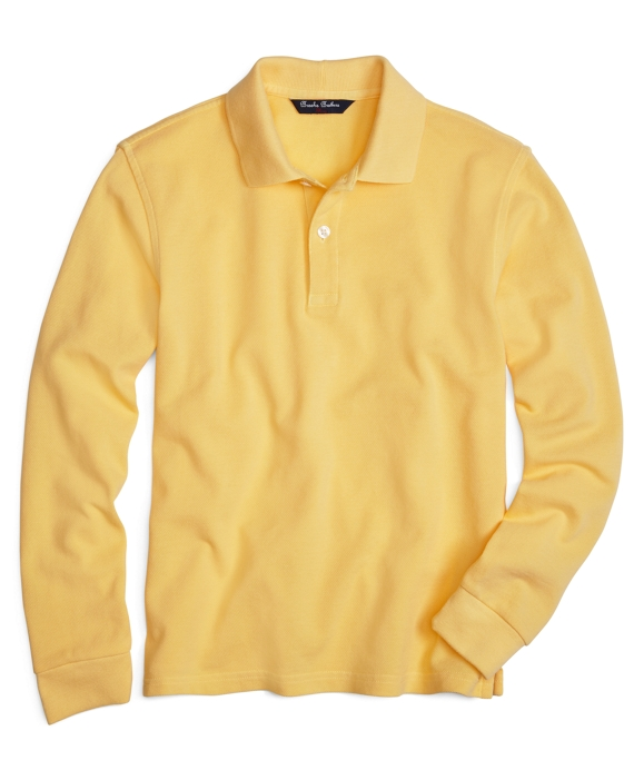 Boys Long-Sleeve Pique Polo Shirt Yellow