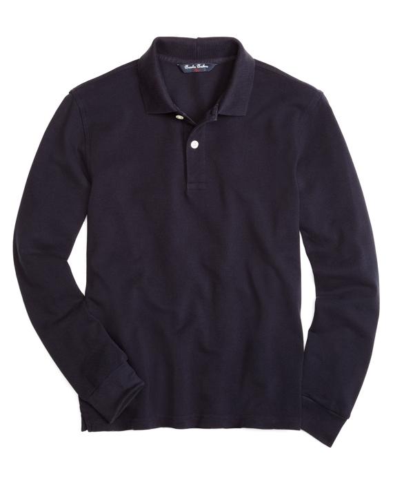 Boys Long-Sleeve Pique Polo Shirt Navy