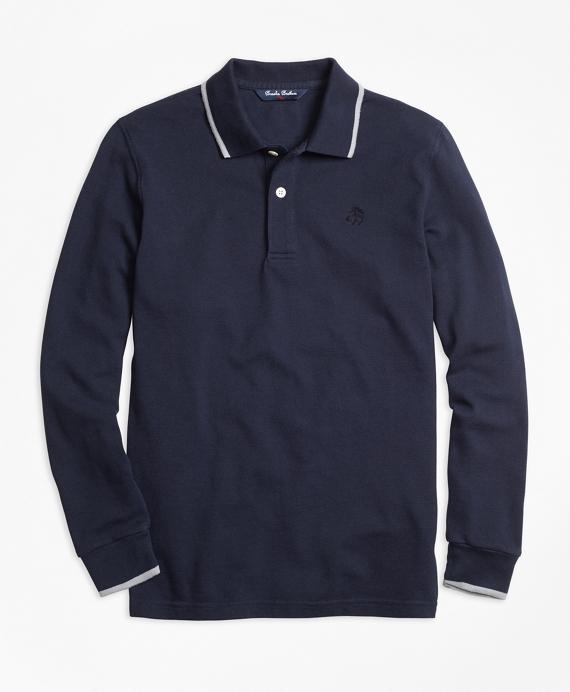 Boys Long-Sleeve Cotton Tipped Polo Shirt Navy