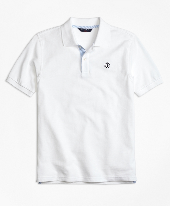 Boys Oxford Trim Pique Polo Shirt White
