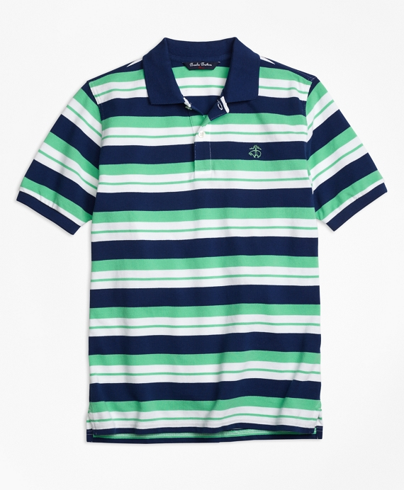 Boys Alternate Stripe Pique Polo Shirt Navy-Multi