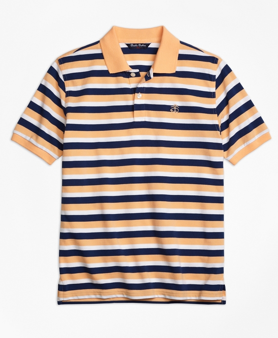 Boys Double Stripe Pique Polo Shirt Orange-Multi