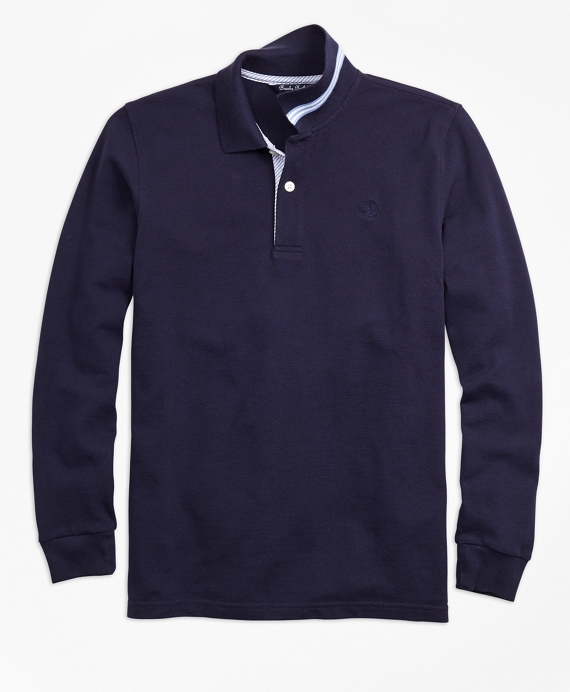 Boys Long-Sleeve Cotton Pique Polo Shirt Navy