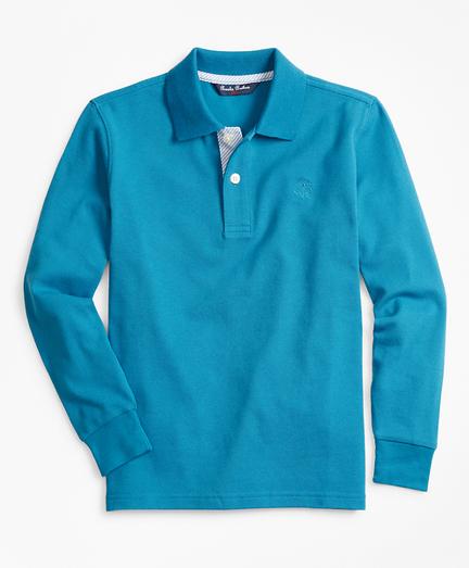 Boys Long-Sleeve Cotton Pique Polo Shirt