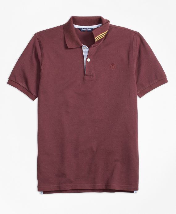 Boys Short-Sleeve Cotton Pique Polo Shirt Burgundy