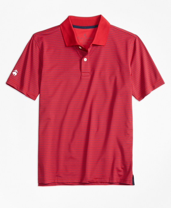 Boys Stripe Performance Polo Shirt Red-Navy