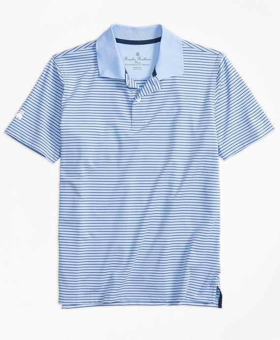 Boys Stripe Performance Polo Shirt Light Blue-Navy