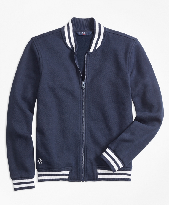 Boys Pique Full-Zip Baseball Fleece Navy