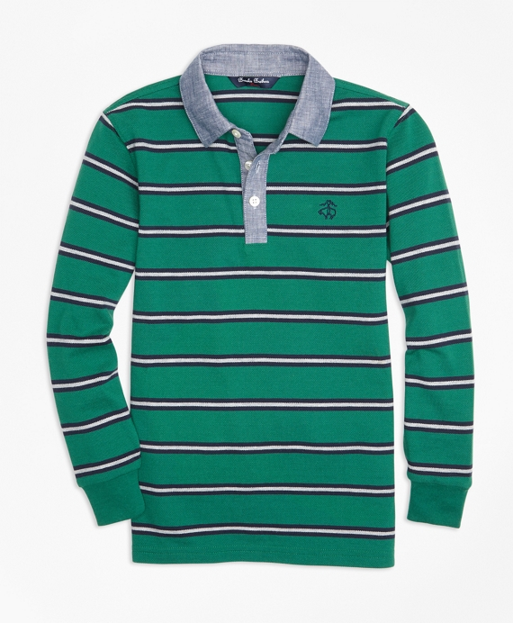 Boys Mini Stripe Chambray Pique  Polo Shirt Dark Green
