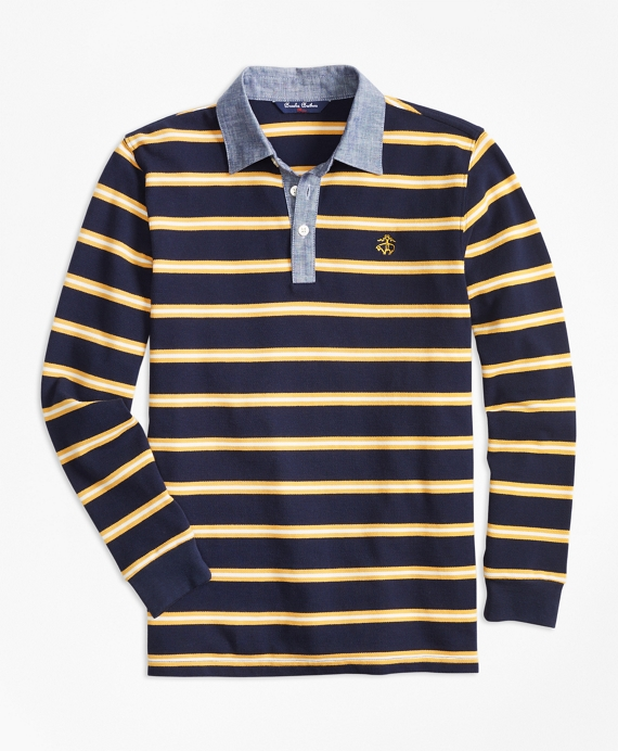 Boys Mini Stripe Chambray Pique  Polo Shirt Navy-Yellow