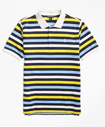 Short-Sleeve Bold Stripe Pique Polo Shirt