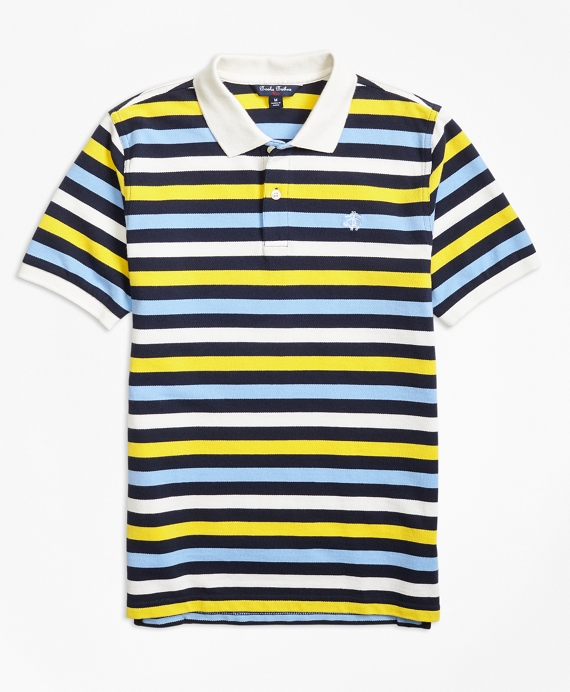 Boys Short-Sleeve Bold Stripe Pique Polo Shirt Navy-Multi