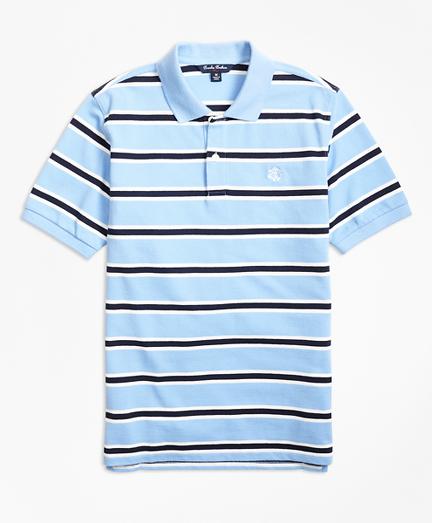 Short-Sleeve Alternate Stripe Pique Polo Shirt