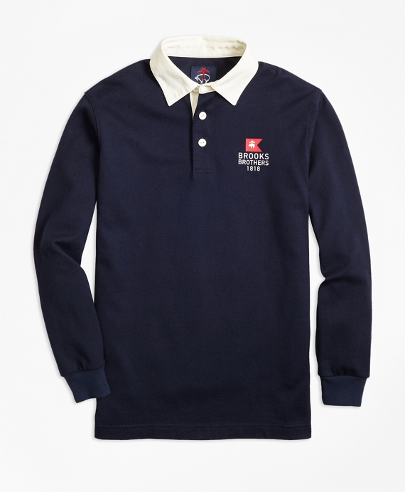 Boys Nautical Flag Rugby Shirt Navy