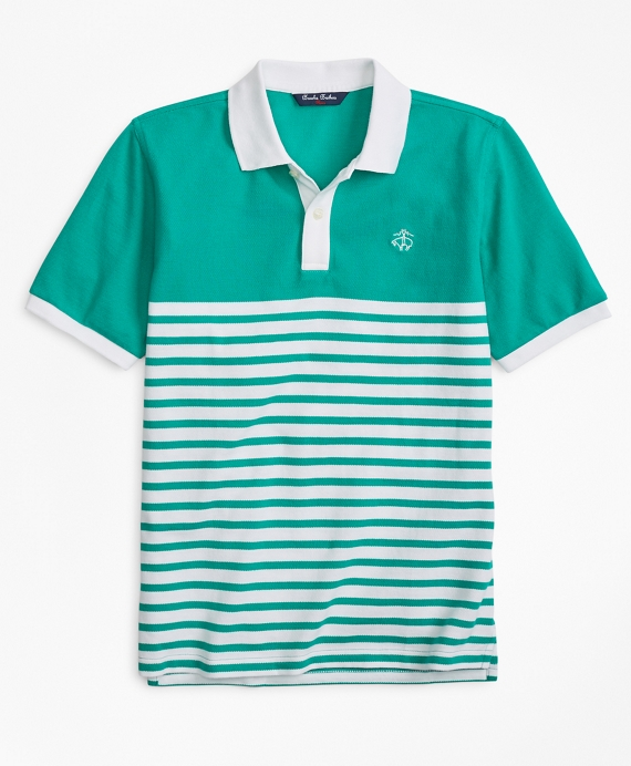 Boys Nautical Stripe Pique Polo Shirt Green
