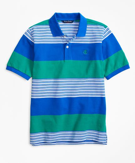 Rugby Stripe Pique Polo Shirt