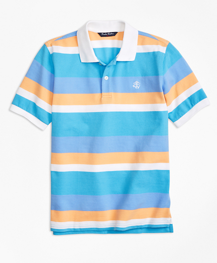 Boys Wide Stripe Pique Polo Shirt