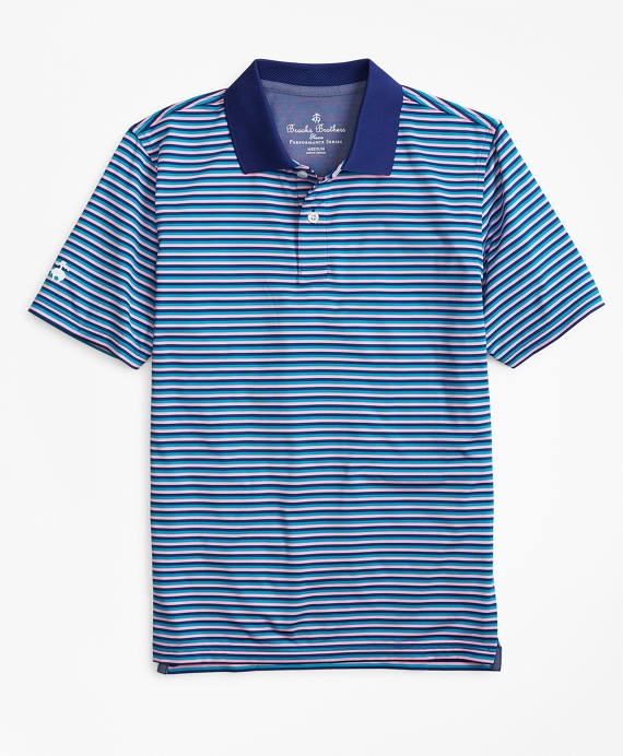 Boys Performance Feeder Stripe Polo Shirt Turquoise