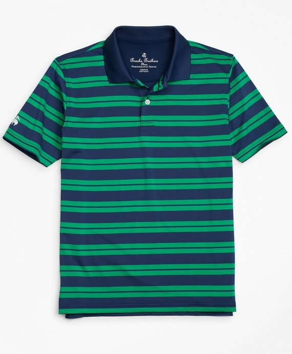 Boys Performance Track Stripe Polo Shirt Navy-Green