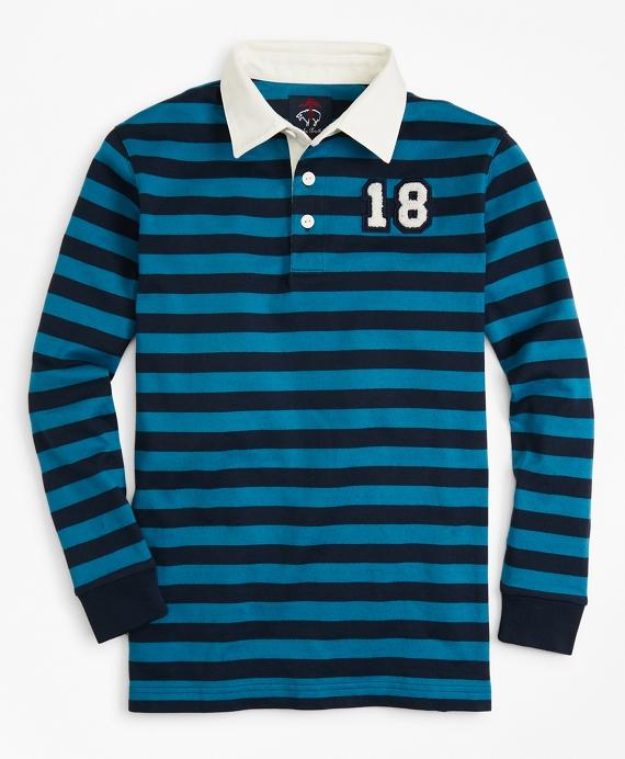 Boys Striped Rugby Shirt Blue
