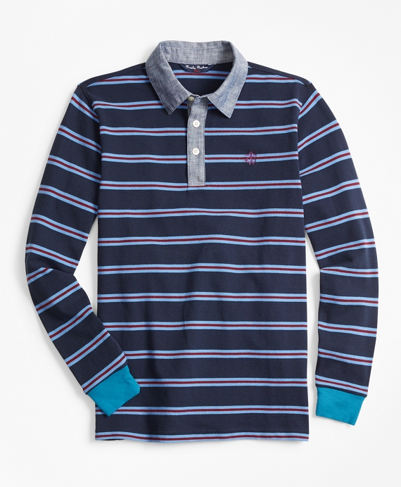 Boys Cotton Long-Sleeve Stripe Pique Polo Shirt Navy