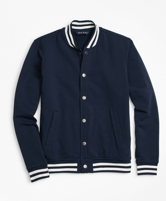 Boys Knit Fleece Baseball Jacket Navy