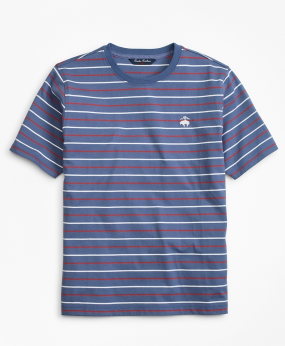 Boys Cotton Short-Sleeve Multi-Stripe T-Shirt Blue-Multi
