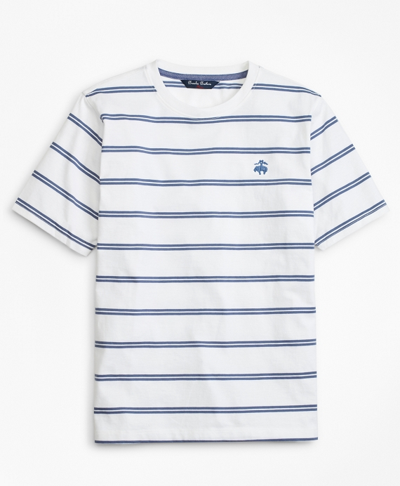 Boys Cotton Short-Sleeve Stripe T-Shirt White-Blue