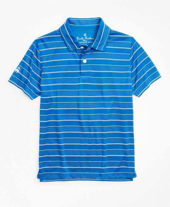 Boys Performance Series Stripe Polo Shirt Blue