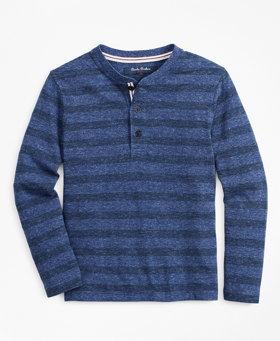 Boys Stripe Henley Blue-Navy
