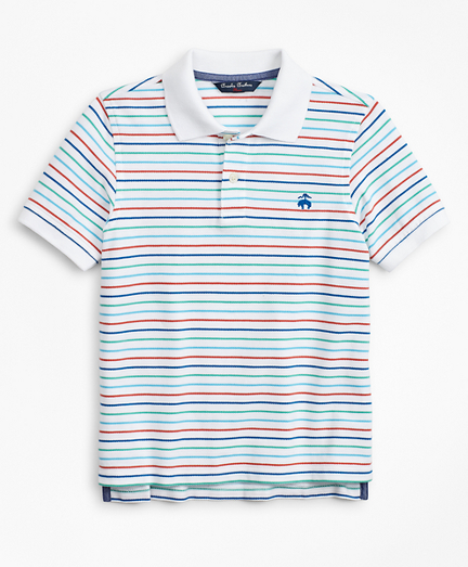 Boys Short-Sleeve Cotton Pique Stripe Polo Shirt