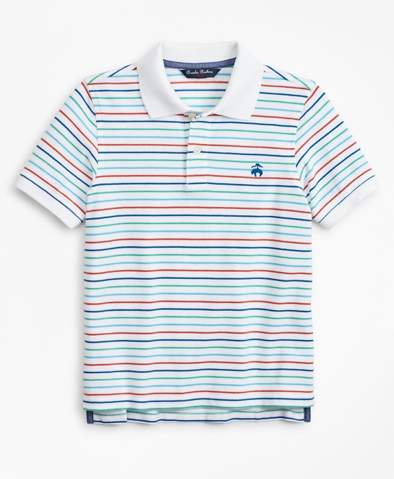 Boys Short-Sleeve Cotton Pique Stripe Polo Shirt White-Multi