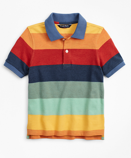 Boys Short-Sleeve Cotton Stripe Color-Block Polo Shirt