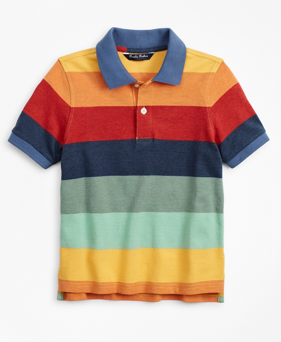 Boys Short-Sleeve Cotton Stripe Color-Block Polo Shirt Multi