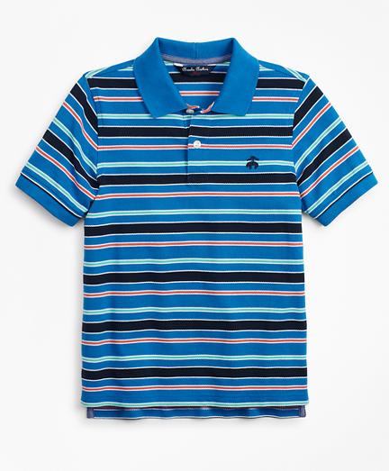Boys Short-Sleeve Cotton Pique Multi-Stripe Polo Shirt