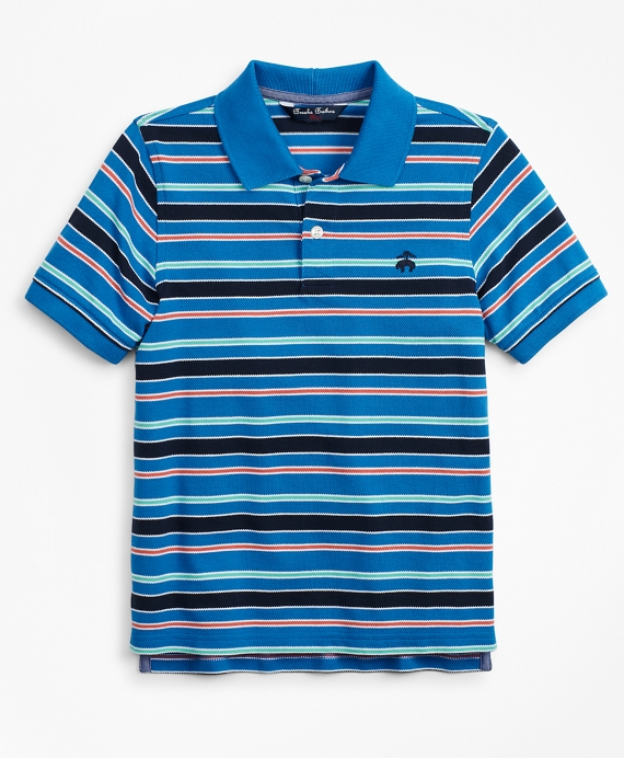 Boys Short-Sleeve Cotton Pique Multi-Stripe Polo Shirt Blue-Multi