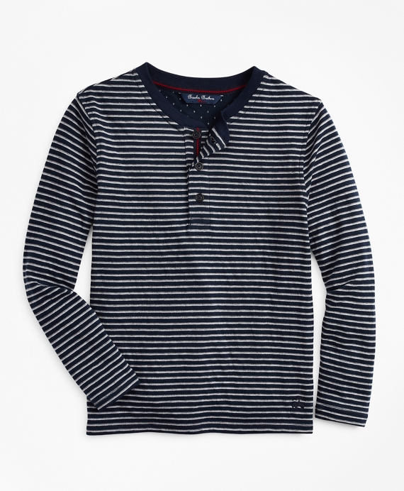 Boys Wide Stripe Henley Navy