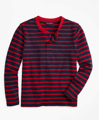Boys Stripe Cotton Jersey Henley