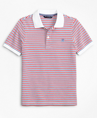 Boys Performance Series Pique Stripe Polo Shirt