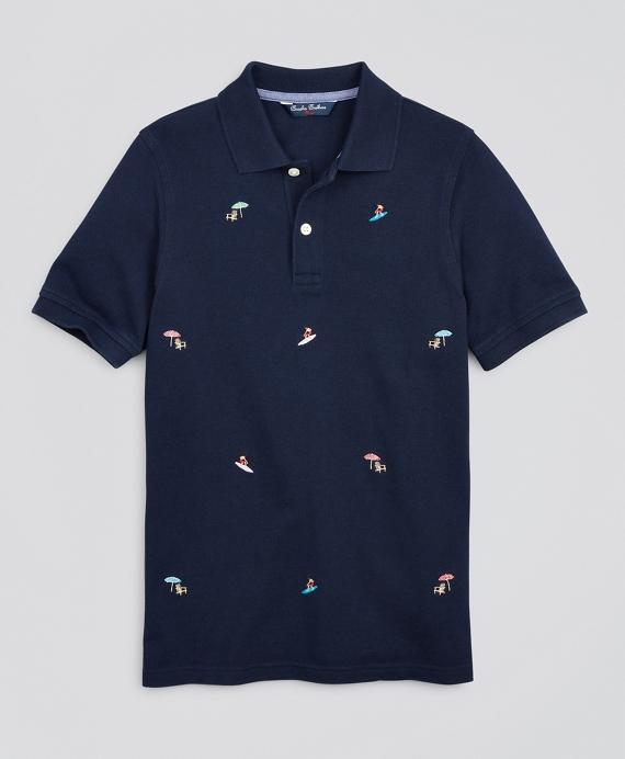 Boys Cotton Pique Embroidered Polo Shirt Navy