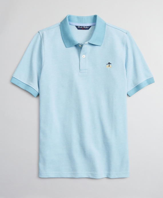 Boys Cotton Oxford Pique Polo Shirt Blue